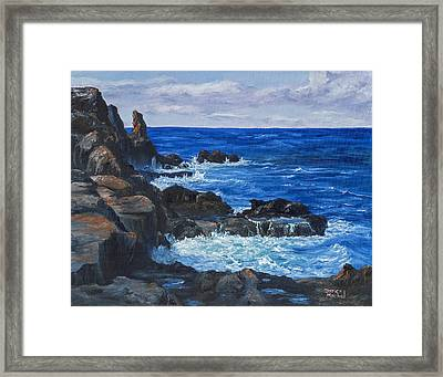 Framed Print featuring the painting Maui Rugged Coastline by Darice Machel McGuire