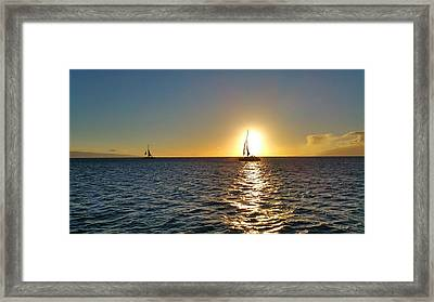 Maui Sailboat Sunset Framed Print by Stacia Blase