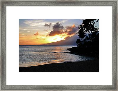 Framed Print featuring the photograph Maui Sunset Aglow by Rau Imaging