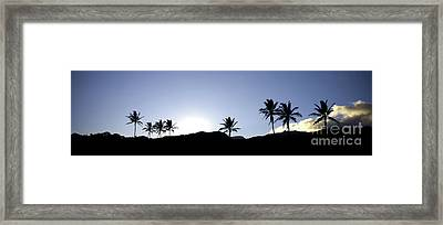 Maui Sunset Palm Tree Silhouettes Framed Print by Denis Dore