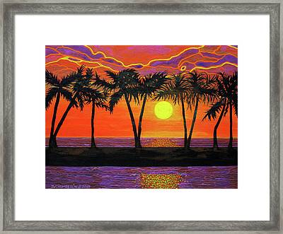 Maui Sunset Palm Trees Framed Print