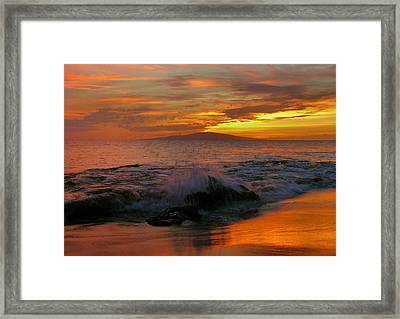 Framed Print featuring the photograph Maui Sunset Reflections by Stephen  Vecchiotti