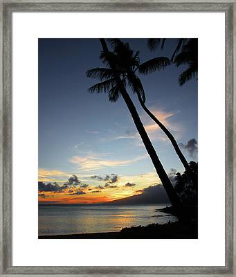 Framed Print featuring the photograph Maui Sunset With Palm Trees by Rau Imaging