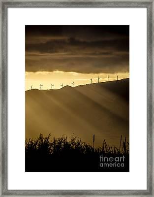 Maui Wind Farm Sunset Framed Print