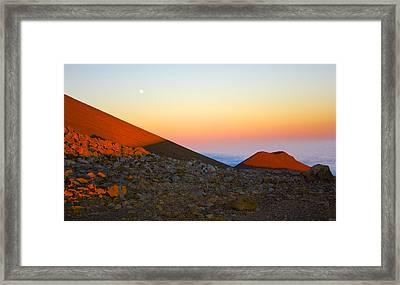 Mauna Kea Sunset With Full Moon Volcanoes National Park Hawaii Framed Print