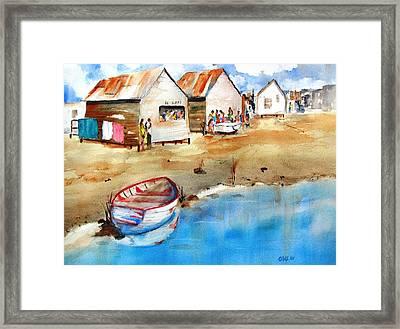 Mauricio's Village - Beach Huts Framed Print