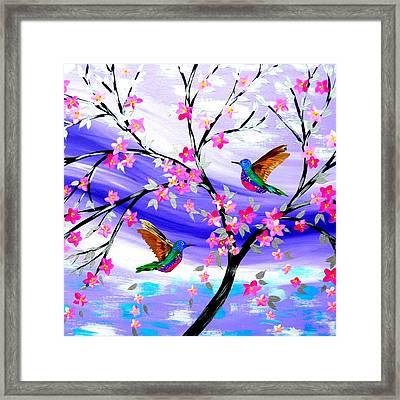 Mauve Fantasy With Sakura Framed Print by Cathy Jacobs