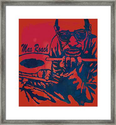 Max Roach Pop  Stylised Art Sketch Poster Framed Print by Kim Wang