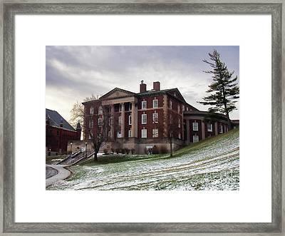 Maxwell Hall In Winter Framed Print by Debra Millet