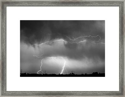 May Showers - Lightning Thunderstorm  Bw 5-10-2011 Framed Print