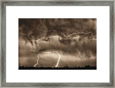 May Showers - Lightning Thunderstorm Sepia Hdr Framed Print by James BO  Insogna