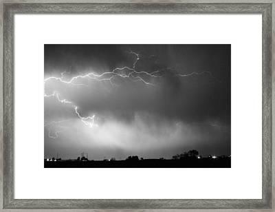 May Showers 2 In Bw - Lightning Thunderstorm 5-10-2011 Boulder C Framed Print
