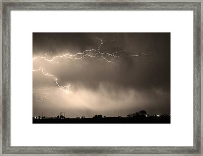 May Showers 2 In Sepia - Lightning Thunderstorm 5-10-2011   Framed Print by James BO  Insogna