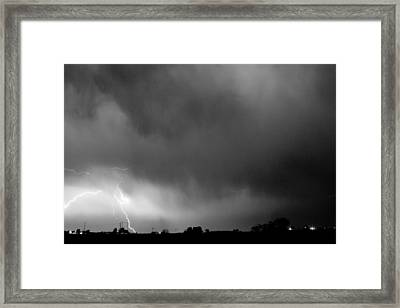 May Showers 3 In Bw - Lightning Thunderstorm 5-10-2011 Boulder C Framed Print by James BO  Insogna
