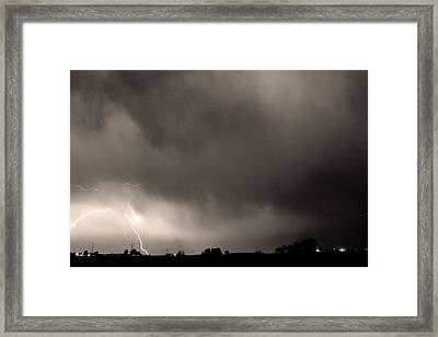 May Showers 3 In Sepia - Lightning Thunderstorm 5-10-2011 Boulde Framed Print by James BO  Insogna