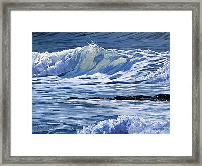 Framed Print featuring the painting May Wave by Lawrence Dyer