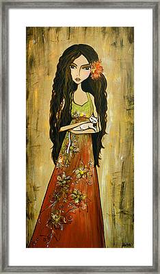Maya And The Cat Framed Print by Debbie Horton