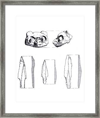 Maya Cat Head And Stone Tools Framed Print