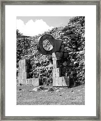 Mayan Ball Court Goal At Uxmal Mexico Black And White Framed Print by Shawn O'Brien