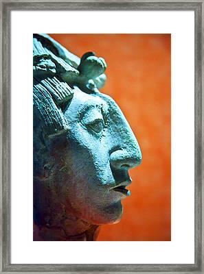 Mayan Sculpture Framed Print by John  Bartosik