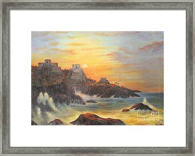 Mayan Sunset Framed Print by Sonia Flores Ruiz