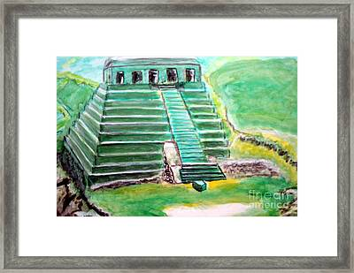 Mayan Temple Framed Print by Stanley Morganstein