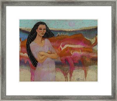 Mayan Tending Her Cattle In Tulum Framed Print