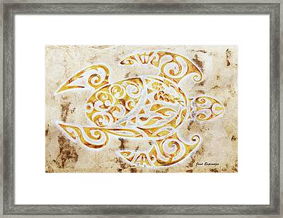Framed Print featuring the painting Mayan Turtle by J- J- Espinoza