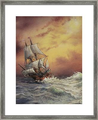 Mayflower At Sea Detail Framed Print by Tom Shropshire