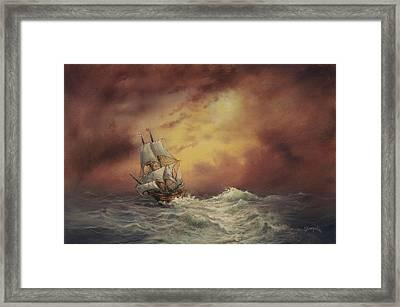 Mayflower At Sea Framed Print by Tom Shropshire