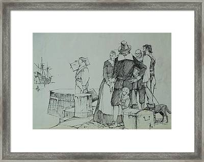 Framed Print featuring the drawing Mayflower Departure. by Mike Jeffries