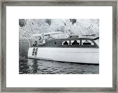 Mayo Methot And Humphrey Bogart On  The Powerboat Sluggy, C.1939 Framed Print