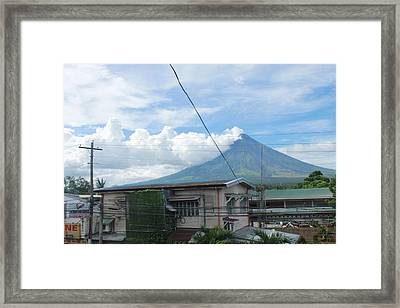 Mayon In-front Of My House Framed Print by Manuel Cadag