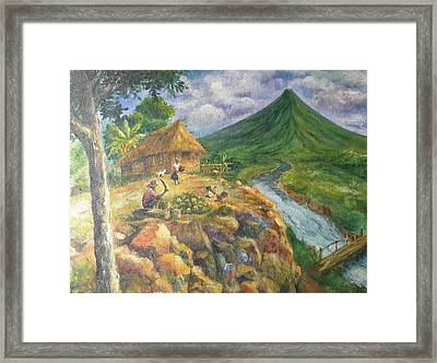 Mayon Scene #1 Framed Print by Manuel Cadag