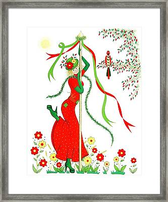 Maypole Scarecrow Framed Print by Sandra Moore