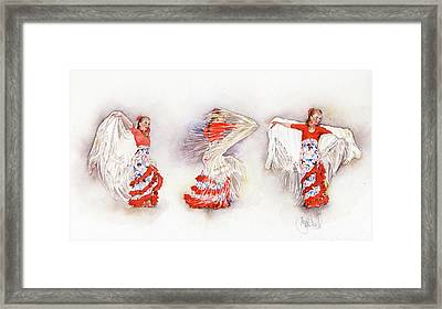 Mayte Beltran Dancing The Flamenco With Shawl Framed Print by Margaret Merry