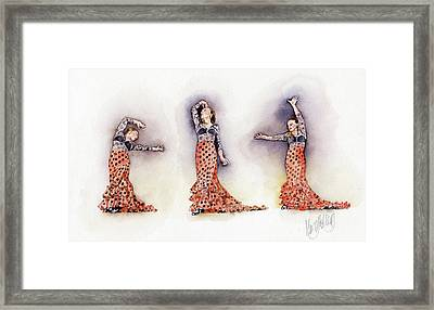 Mayte Red And Black Framed Print by Margaret Merry