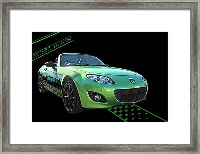 Mazda Mx-5 Sport Black Framed Print by Gill Billington