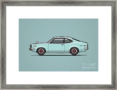 Mazda Savanna Gt Rx-3 Baby Blue Framed Print by Monkey Crisis On Mars