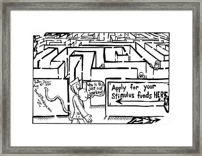 Maze Cartoon Of A Maze By Yon Framed Print