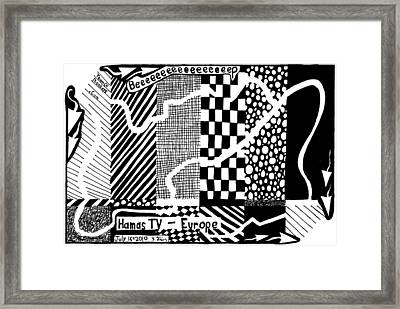 Maze Cartoon Of Color Test Screen For Hamas Tv Europe Framed Print by Yonatan Frimer Maze Artist