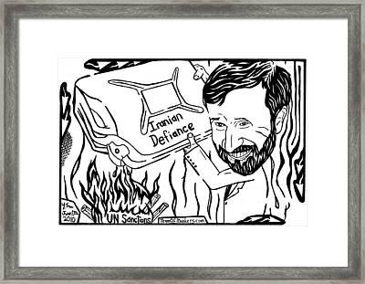 Maze Cartoon Of Iranian Gasoline On The Fire By Yonatan Frimer Framed Print