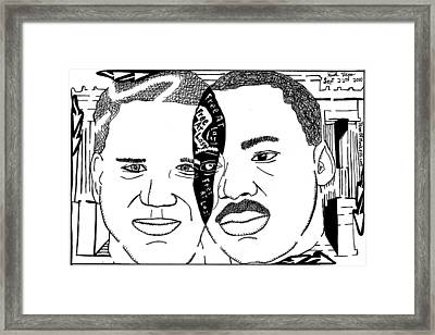 Maze Cartoon Of Mlk And Glenn Beck At Lincoln Memorial Framed Print by Yonatan Frimer Maze Artist