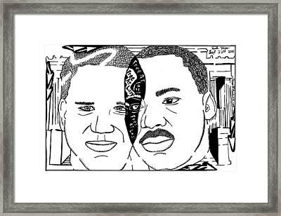 Maze Cartoon Of Mlk And Glenn Beck At Lincoln Memorial Framed Print by Yonatan Frimer Maze Artist