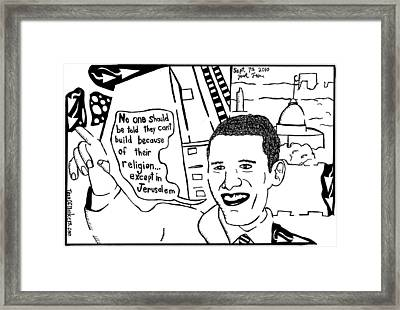 Maze Cartoon Of Obama On Building Ground Zero Mosque And Jerusalem Framed Print by Yonatan Frimer Maze Artist