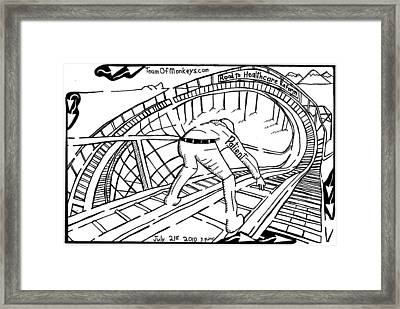 Maze Cartoon Of Patient On The Rollercoaster Of Healthcare Reform By Yonatan Frimer Framed Print by Yonatan Frimer Maze Artist