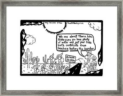 Maze Cartoon On Arizona Laws By Yonatan Frimer Framed Print