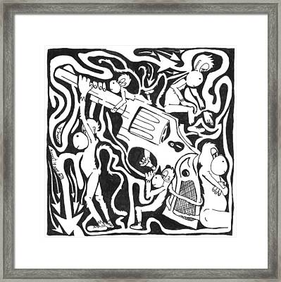 Maze Of A Team Of Monkeys Firing A Service Revolver Framed Print by Yonatan Frimer Maze Artist