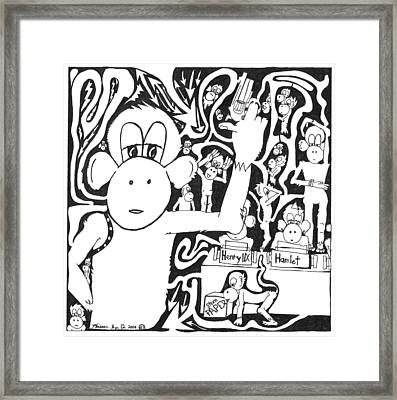 Maze Of A Team Of Monkeys Typing The Complete Works Of Shakespeare Framed Print by Yonatan Frimer Maze Artist