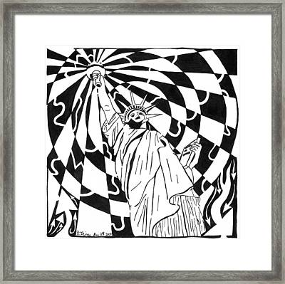 Maze Of Liberty By Yonatan Frimer Framed Print by Yonatan Frimer Maze Artist